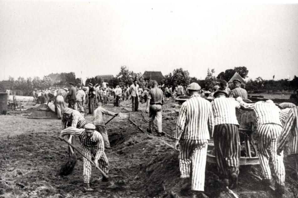 Insassen des KZ-Neuengamme bei der Zwangsarbeit. Aufnahme etwa 1941/1942.