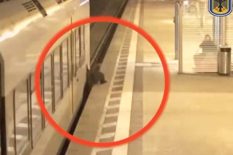 Der Mann wird beim Überqueren der Gleise vom Zug erwischt und eingeklemmt.