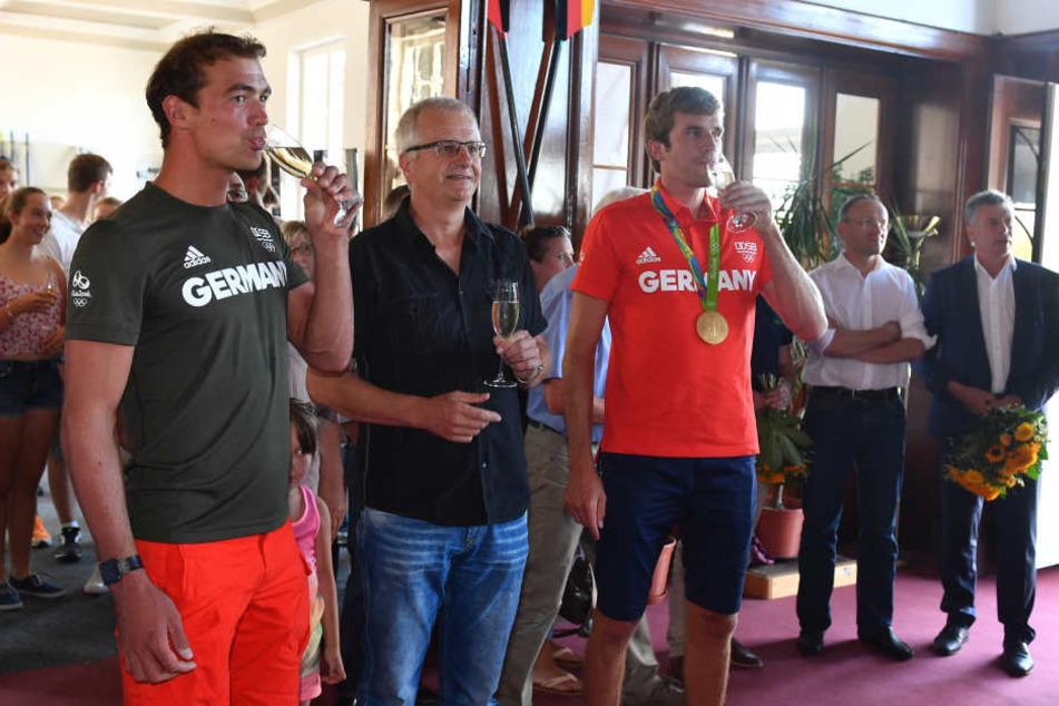 Grohmann (li.) beim Olympia-Empfang 2016, wo er allerdings nur Ersatzmann war.