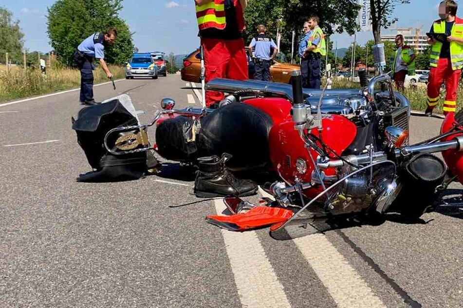 Schwerer Motorrad-Crash in Pirna