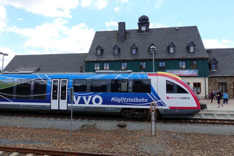 Ein Wagen der Müglitztalbahn der Städtebahn Sachsen GmbH steht auf dem Bahnhof im Kurort Altenberg.