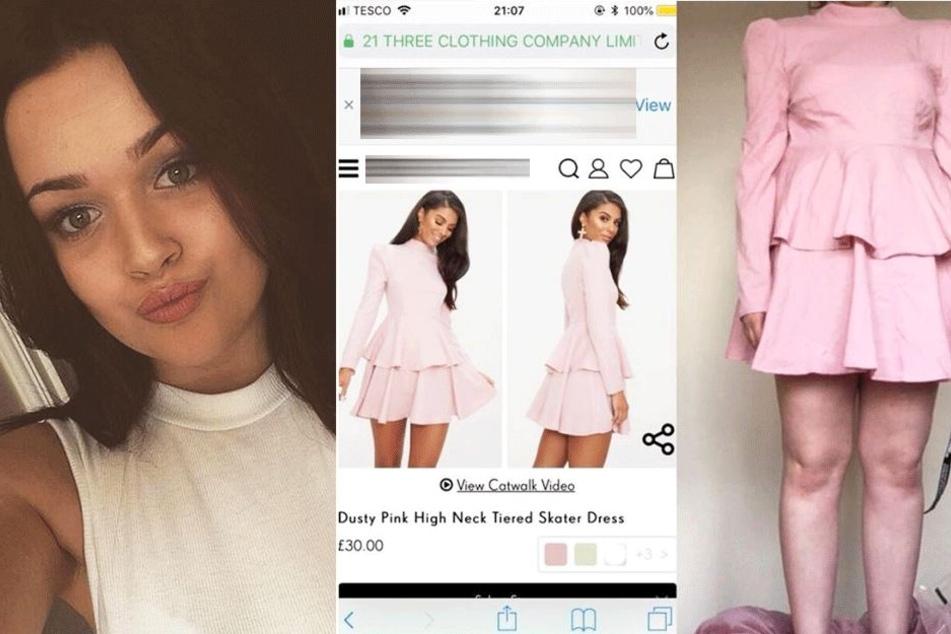 Die 19-Jährige fühlte sich in dem Kleid (rechts) grausam.