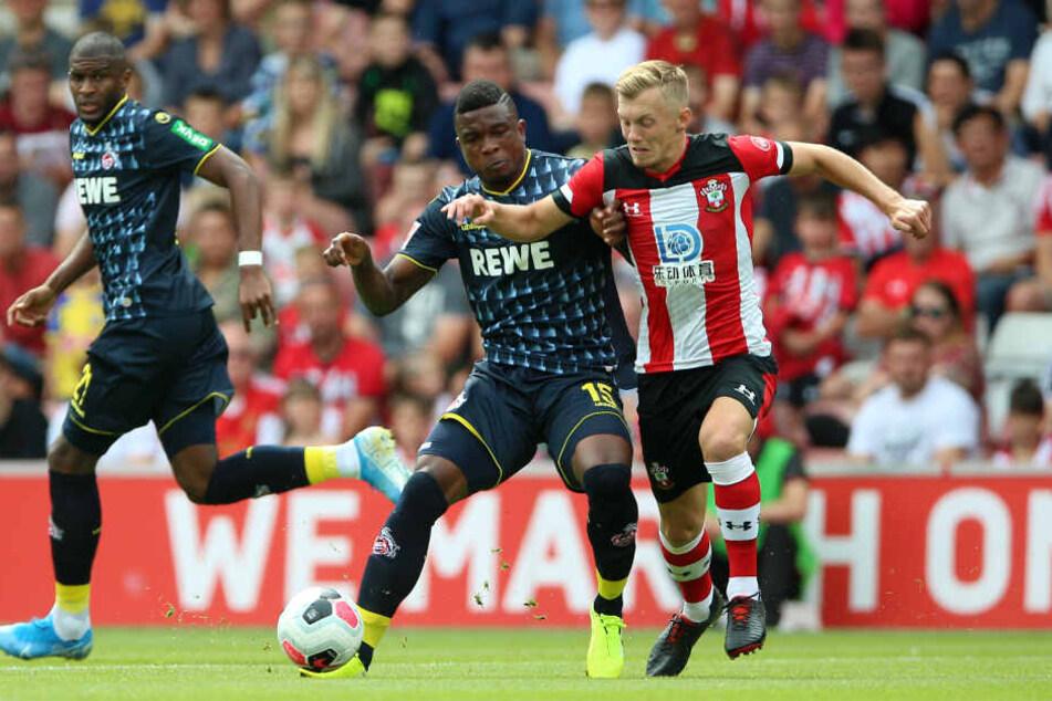 Southamptons James Ward-Prowse (r) und Kölns Jhon Cordoba (M) kämpfen um den Ball. Links läuft Kölns Anthony Modeste.