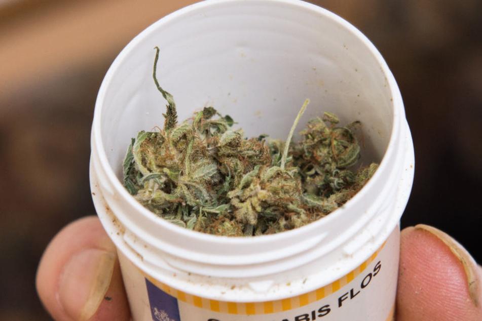 Ein Patient hält eine Dose mit Cannabis in der Hand. (Symbolbild)