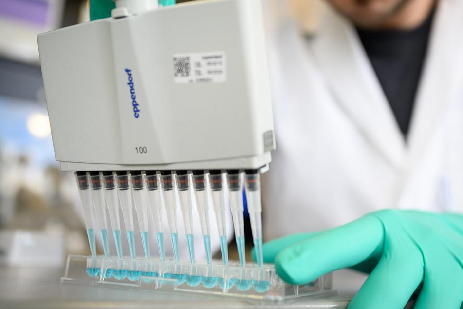 Ein Mann pipettiert in einem Labor eines biopharmazeutischen Unternehmens eine blaue Flüssigkeit.
