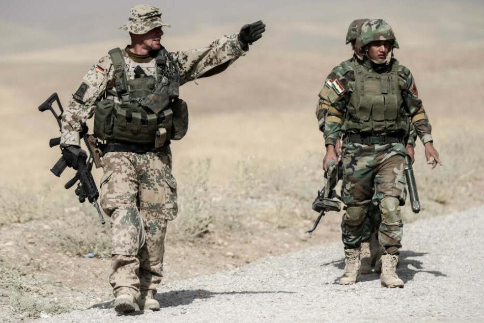 Bundeswehrsoldaten bei einer Übung in Irak.