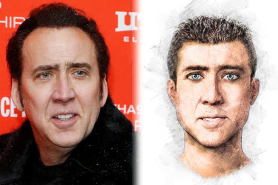 Das Phantombild der Polizei erinnert an den berühmten Schauspieler Nicolas Cage.