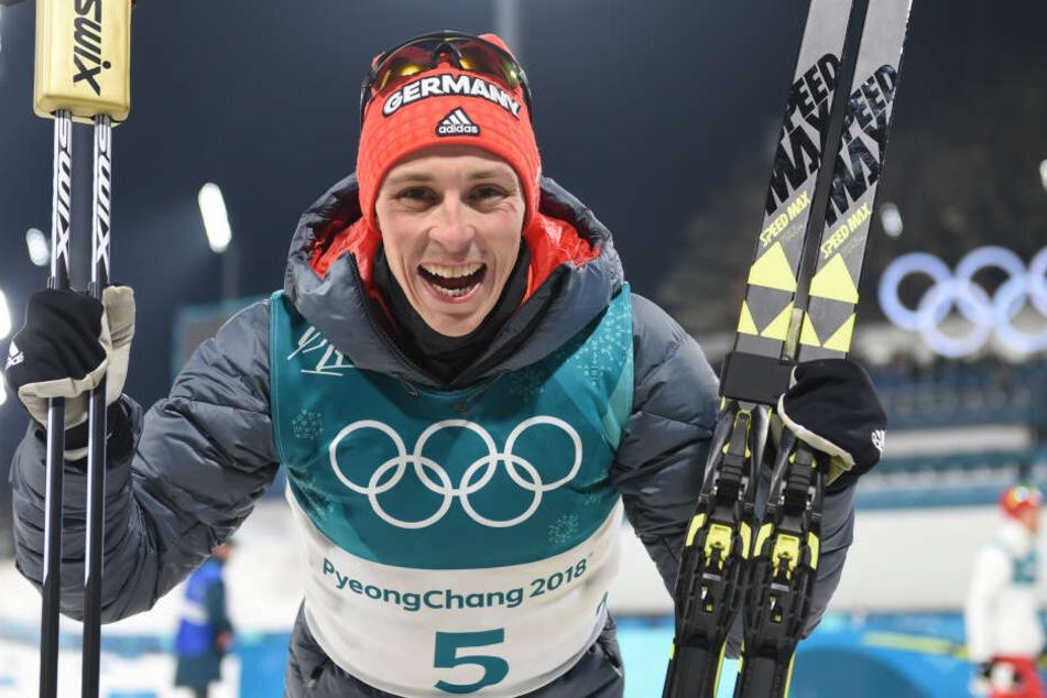Eric Frenzel jubelnd bei den Olympischen Spielen 2018.