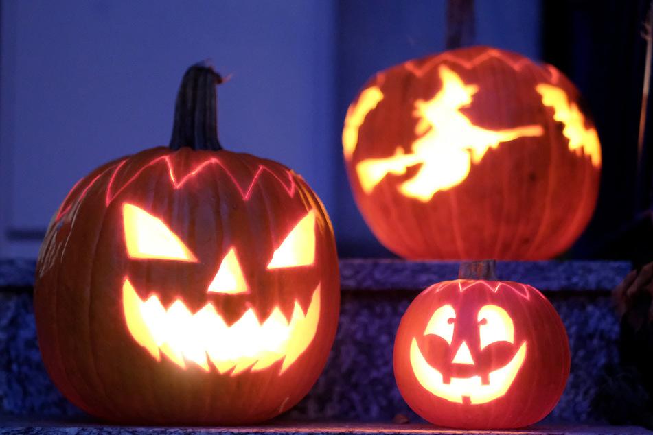 Geschnitzte Halloween-Kürbisse mit Geister-Motiven stehen von innen beleuchtet vor einem Haus.