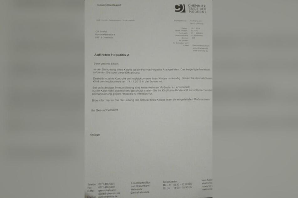 Mit diesem Brief informierte das Gesundheitsamt die Eltern der Grundschüler.