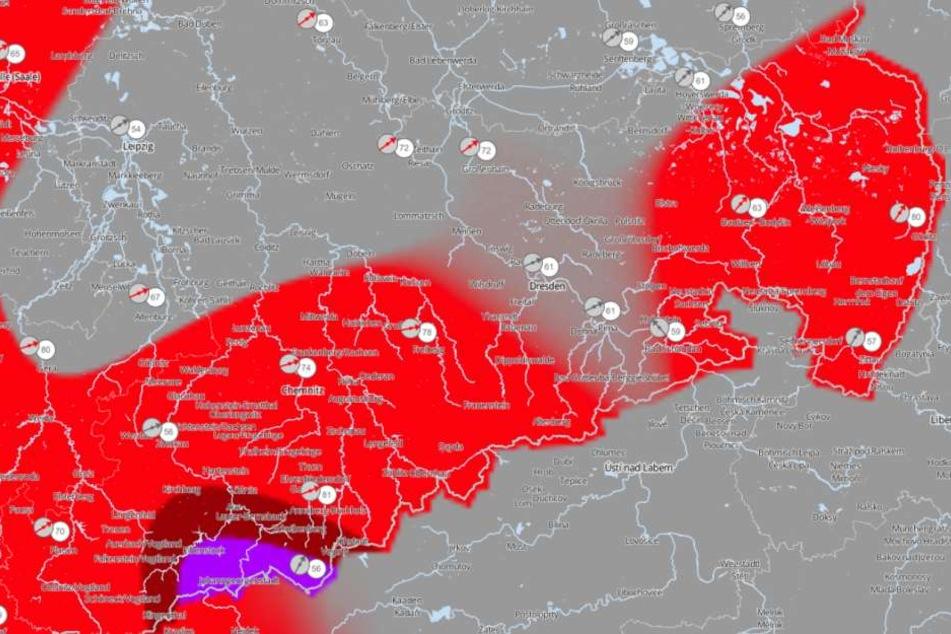 Morgen muss in den meisten Teilen von Sachsen mit heftigem Schnee gerechnet werden.