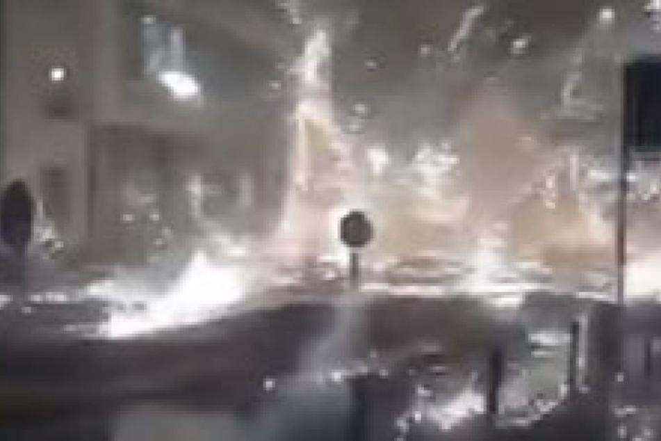In einem Videoclip ist die Explosion in Mainz festgehalten.