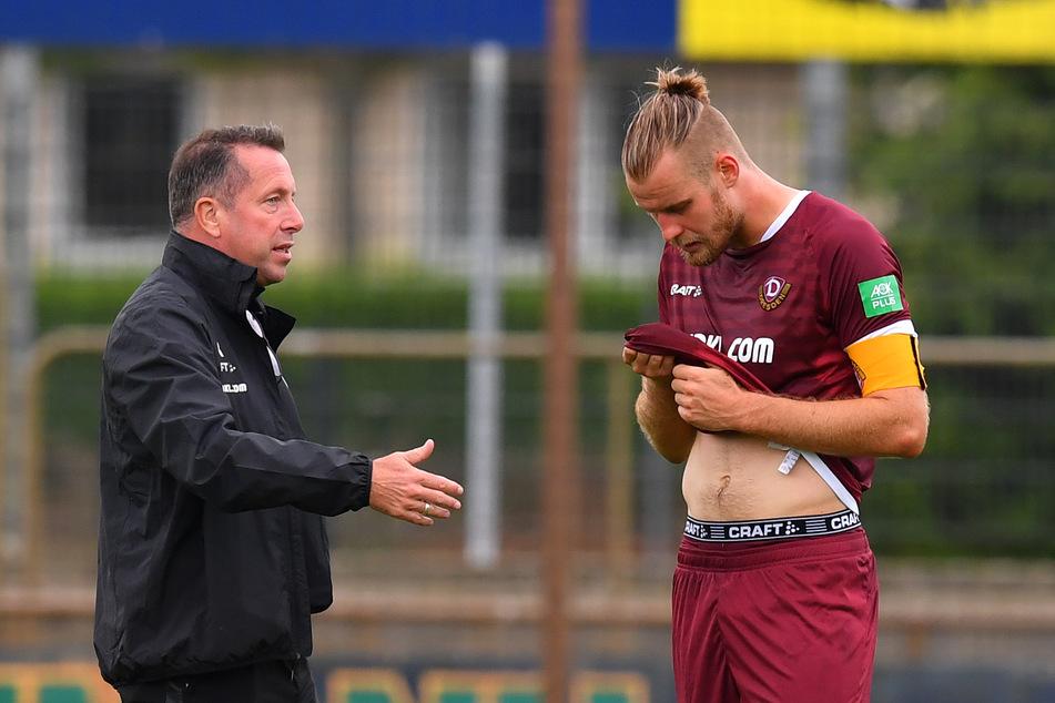 Dynamo-Trainer Markus Kauczinski (50) und SGD-Kapitän Sebastian Mai (26) können sich demnächst auch wieder über Fans im Stadion freuen.