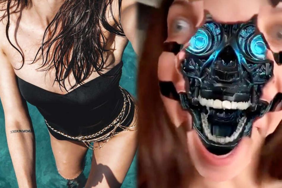 Terminator-Schock: Welche berühmte GNTM-Kandidatin zeigt hier ihr verzerrtes Gesicht?