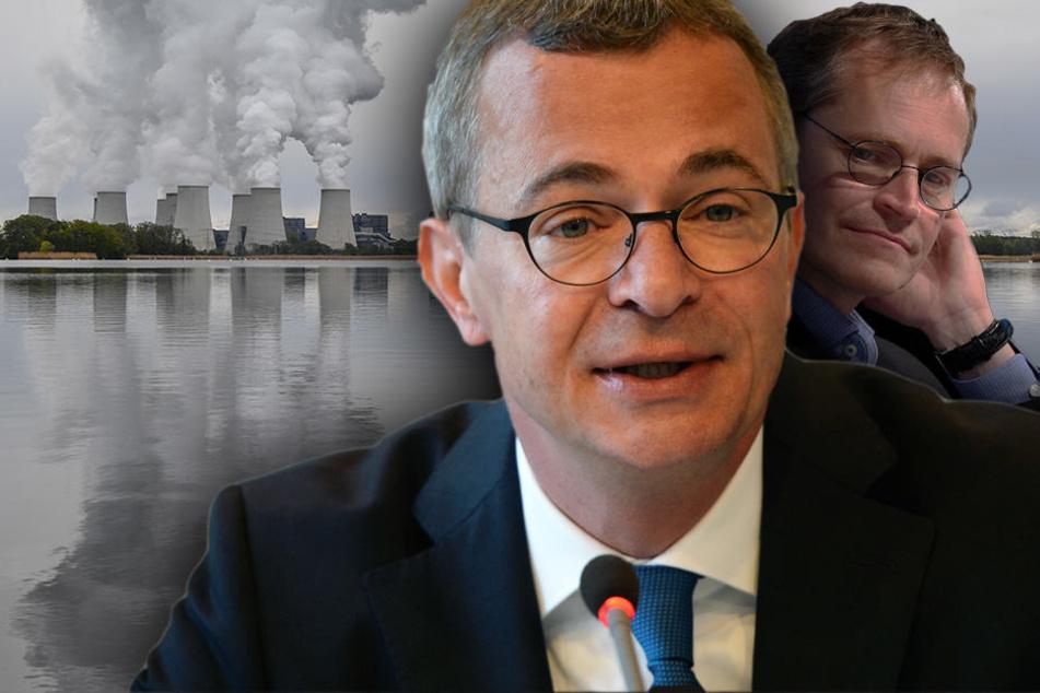 """""""Brandenburg ist Energieland"""", so Gerber und Müller hält sich im Hintergrund."""