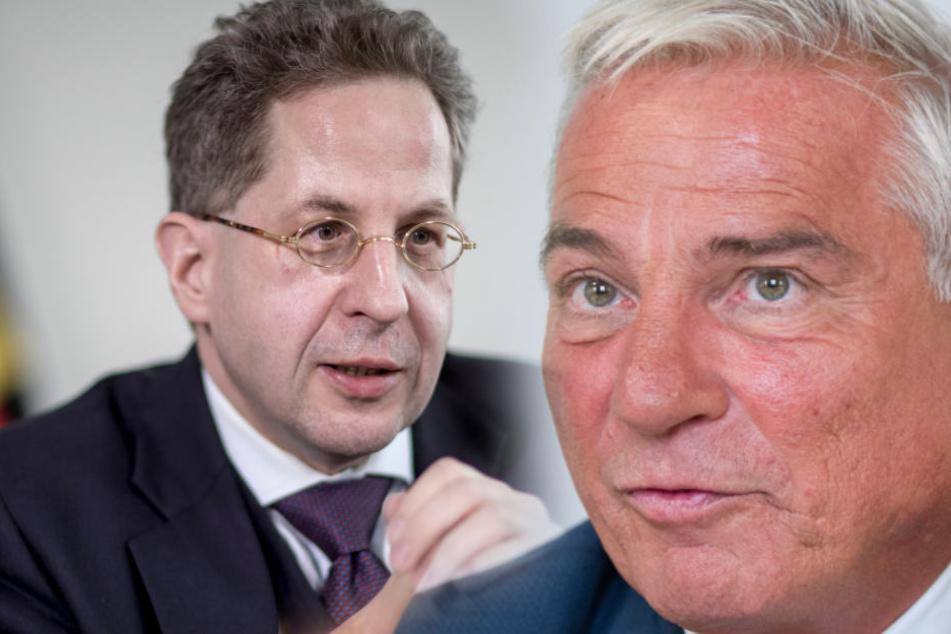 Baden-Württembergs Innenminister Thomas Strobl (CDU) (r.) stärkt Verfassungsschutz-Präsidenten Hans-Georg Maaßen (l.) den Rücken.