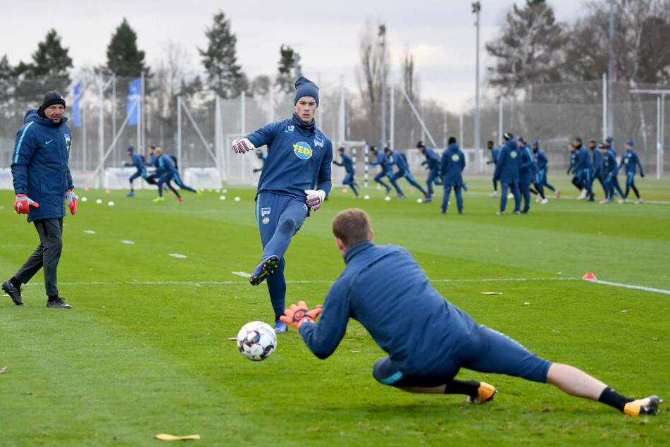 Torwart-Trainer Zsolt Petry (l.) beobachtet Dennis Smarsch (schießend) und Thomas Kraft (fallend) beim Training.