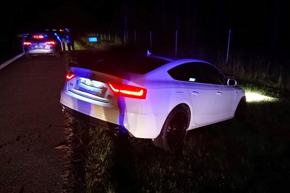 Der Audi A5, nachdem ihn der Nagelgurt stoppen konnte!