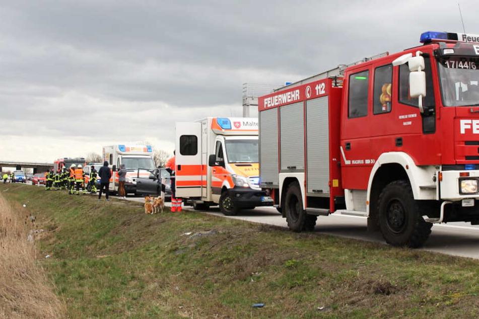 Mehrere Einsatzwagen von Rettungsdienst und Feuerwehr waren vor Ort.
