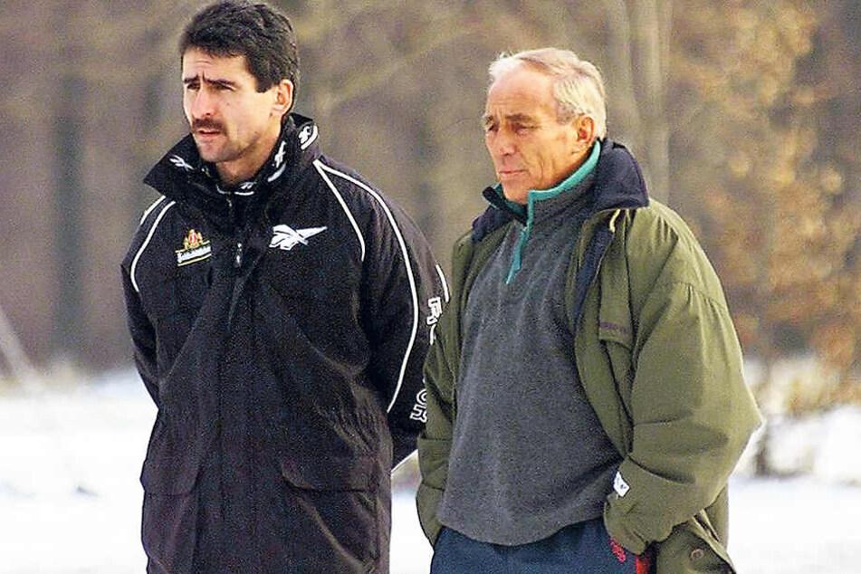 Rolf Schafstall (r. mit seinem Co Damian Halata) war im Frühjahr 1999 für ganze 57 Tage Dynamo-Coach.