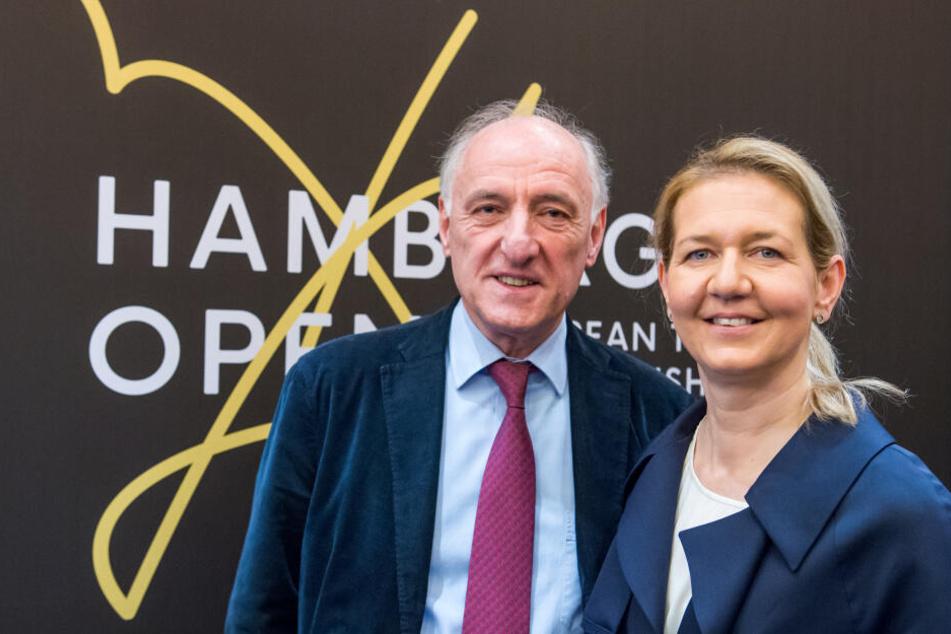Peter-Michael Reichel, Veranstalter der European Tennis Championships in Hamburg (links) und Sandra Reichel, seine Tochter und Turnierdirektorin.