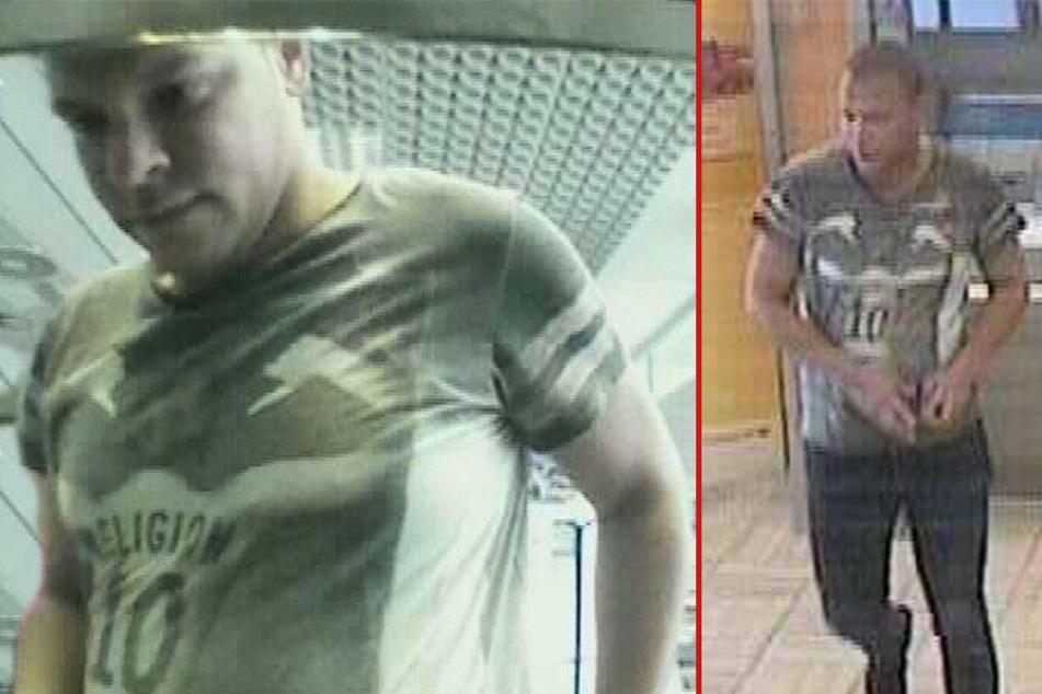 Der 25 bis 30 Jahre alte Mann trug ein auffälliges Shirt, als er in der Bank war.