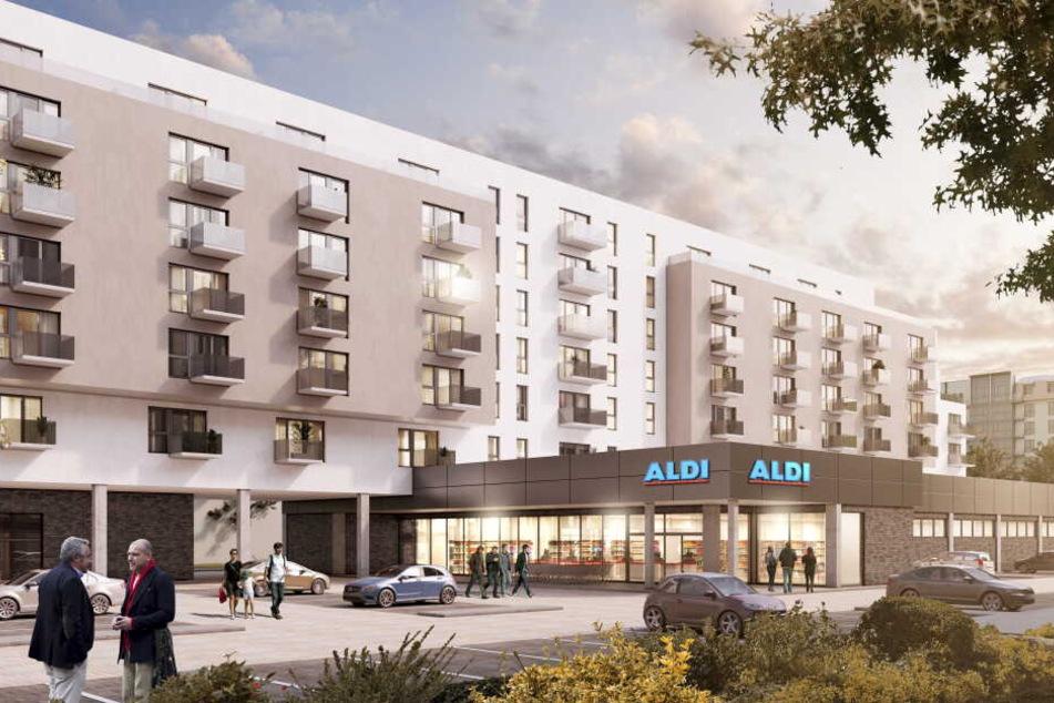 Aldi präsentierte im April 2018 ein eigenes Wohnprojekt. So könnte es in Berlin-Lichtenberg bald aussehen.