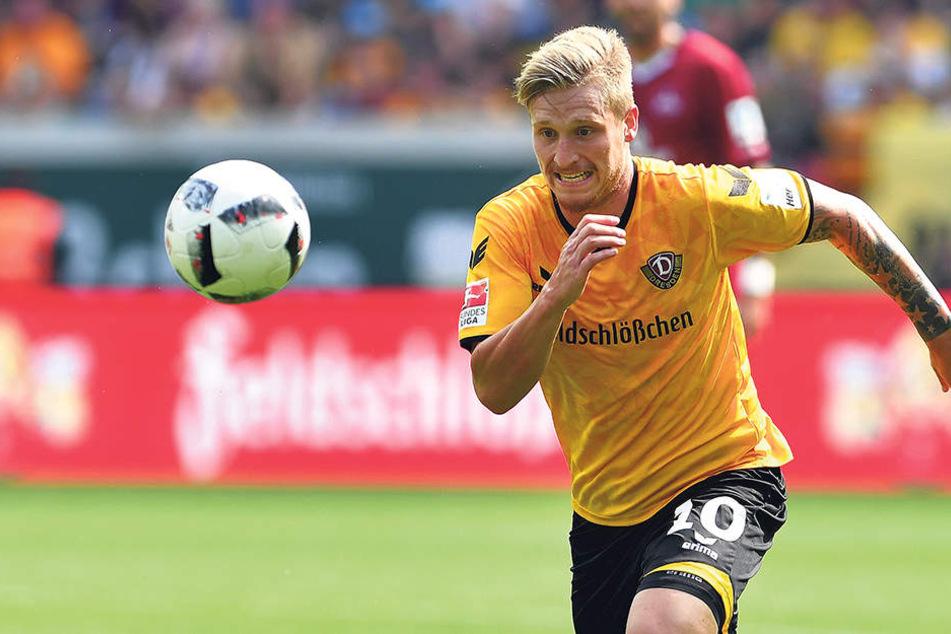 Marvin Stefaniak ist bei transfermarkt.de mit 850.000 Euro eingestuft und damit der wertvollste Profi im Dynamo-Kader.