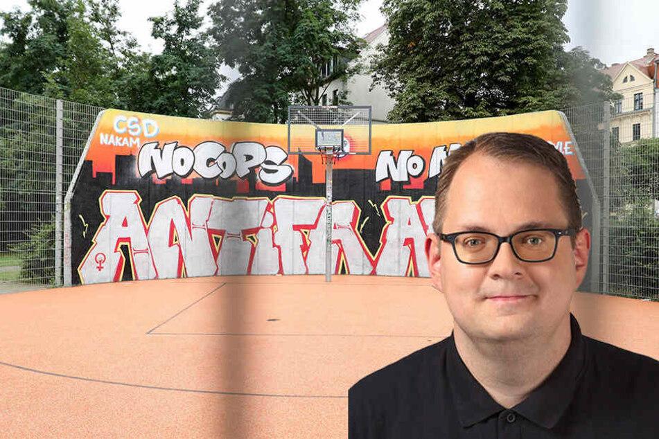 """Der Chef der Leipziger Linksfraktion, Sören Pellmann, lehnt das """"No Cops""""-Graffito persönlich zwar ab, sieht darin aber auch eine Ventilfunktion für Jugendliche."""