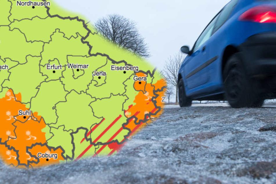 Besonders im Altenburger Land soll es zu glatten Straßen kommen. (Fotomontage)