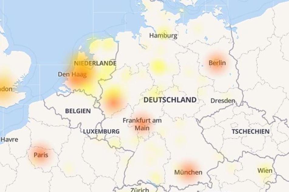 In den roten Teilen Deutschlands sollen die Störungen besonders stark sein.
