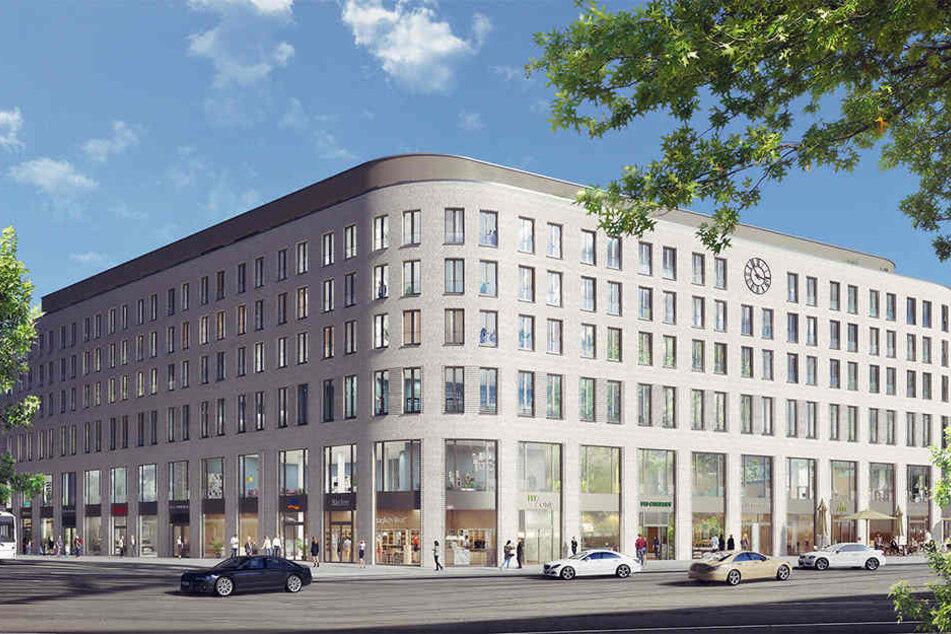 Am Postplatz gegenüber der Altmarkt-Galerie wird momentan dieses künftige Gebäude gebaut.