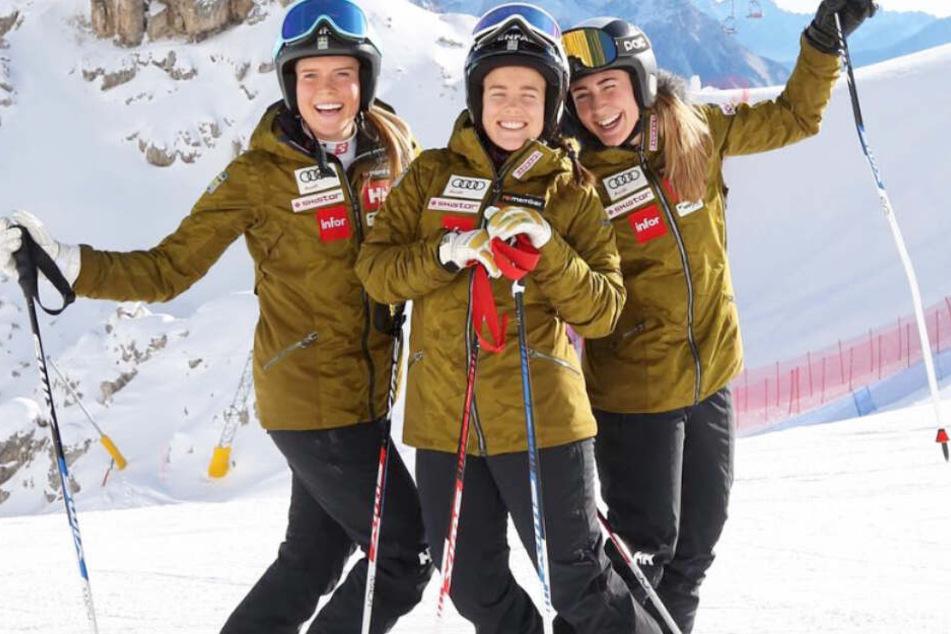 Lisa Hörnblad (l.) und ihre Teamkolleginnen wurden in einer Gondel zu Heldinnen.