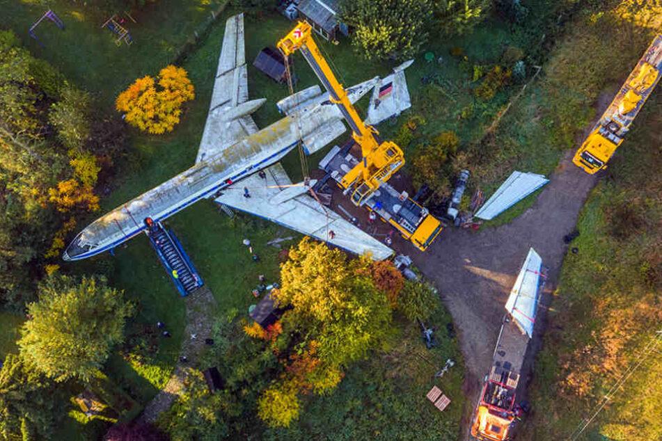 Die TU134 stand mehr als 20 Jahre im Garten hinter dem Restaurant.