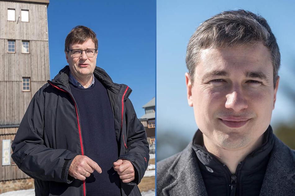Prof. Dr. Gerhard Adrian (60, F.l.) sprach sich für die Vollautomatisierung der Wetterwarte aus. Stephan Kühn (39, Grüne, F.r.) wünscht sich die Wetterbeobachter am Fichtelberg zurück.