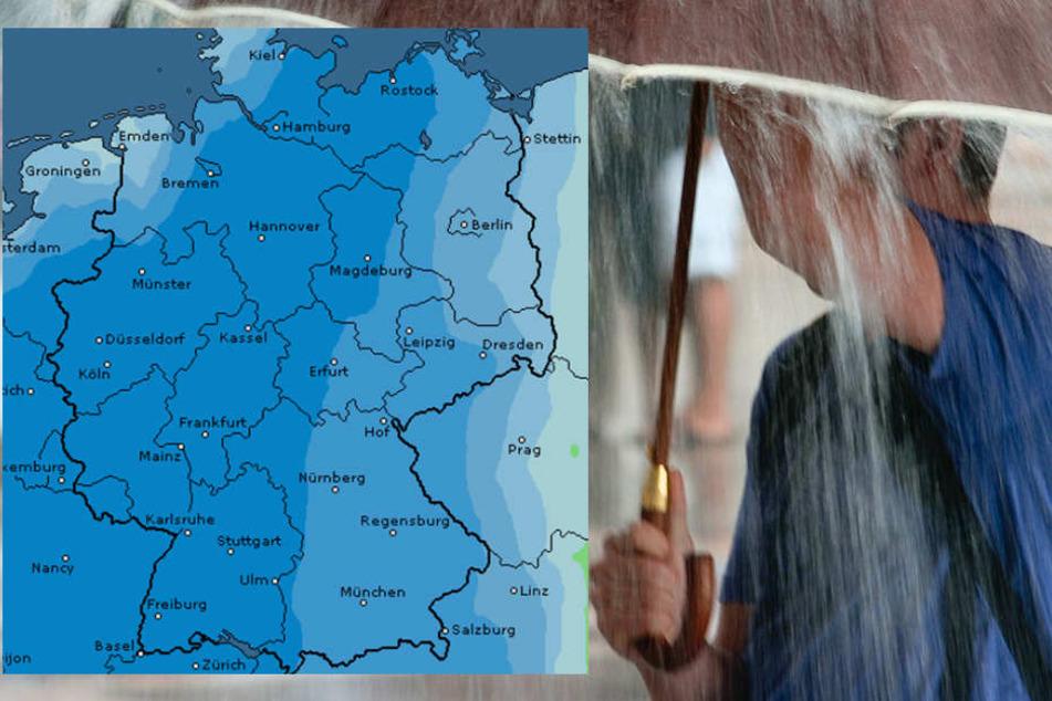 Auf der Karte von Wetteronline sieht man: Es wird nass in Deutschland!