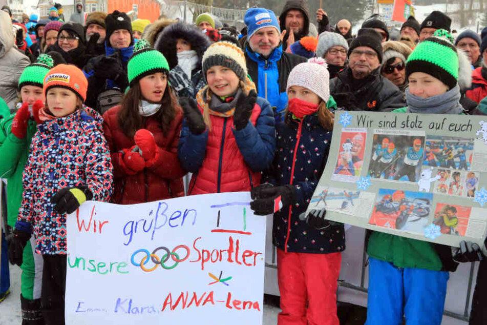 Dutzende Wintersportfans kamen nach Oberhof.