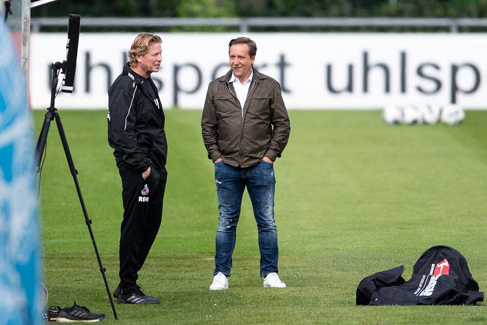 Sportdirektor Horst Heldt (50) bastelt derzeit am Kader für Trainer Markus Gisdol (l.).