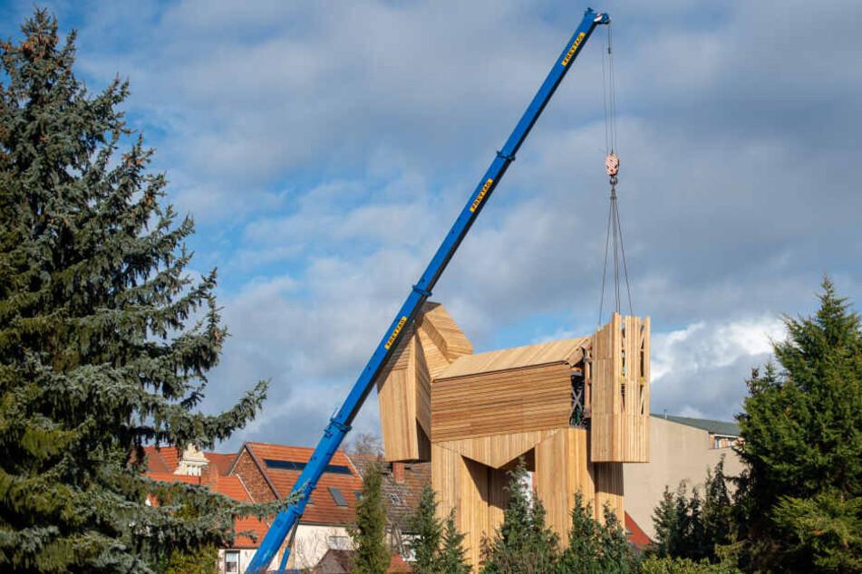 Das Trojanische Pferd in Stendal war morsch: wird nun wieder neu aufgebaut.