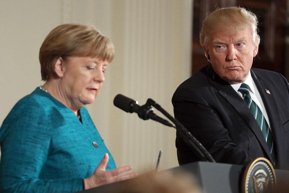 Angela Merkel und Donald Trump bei Gesprächen im Weißen Haus.