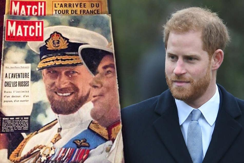 """Die Ausgabe vom """"Paris Match Magazin"""" aus dem Jahr 1957 zeigt die verblüffende Ähnlichkeit zwischen Prinz Philip und Prinz Harry (re.)."""