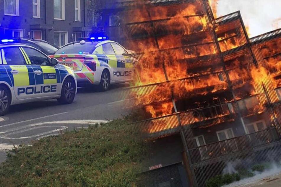 Ganzer Häuserblock steht in London in Flammen!