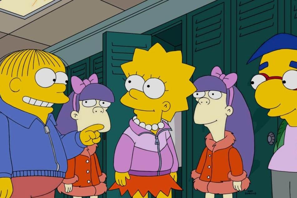 Sherri und Terri im Gespräch mit Ralph, Lisa und Milhouse.