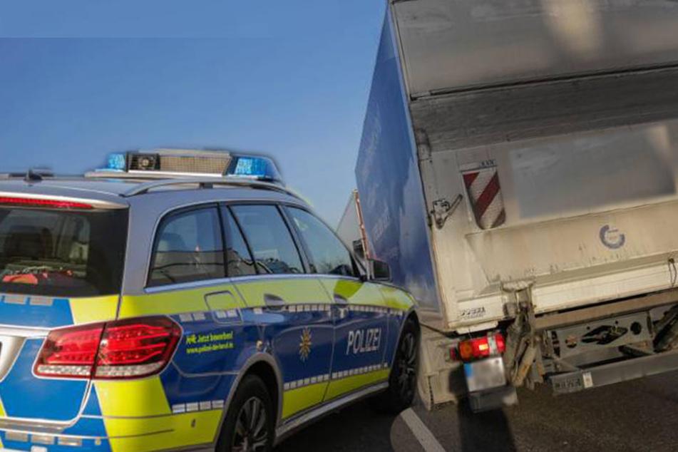 Mehrere Streifenwägen der Polizei mussten den 40-Tonner stoppen.