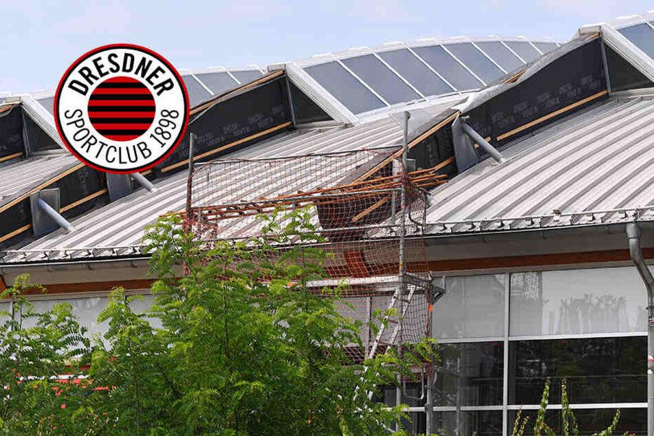 Margon Arena: Ihr Ernst? Stadt Dresden will Regen mit Wannen am Dach auffangen!
