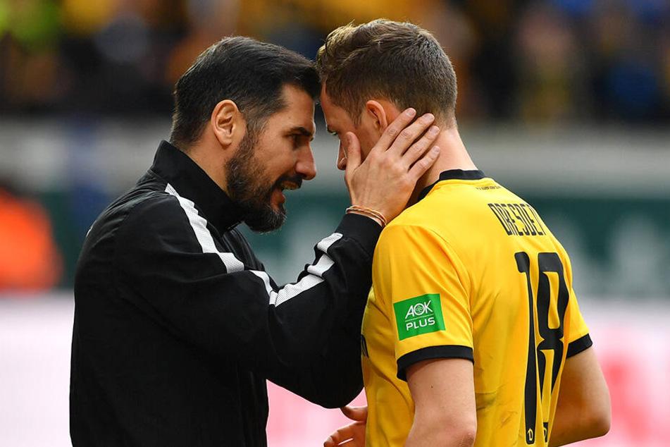Dynamo-Trainer Cristian Fiel (l.) wird auch in der kommenden Saison auf Jannik Müller setzen.