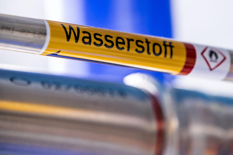 """Eine mit der Aufschrift """"Wasserstoff"""" gekennzeichnete Rohrleitung in einer Brennstoffzelle eines Wasserstoff-Kraftwerks. (Symbolbild)"""