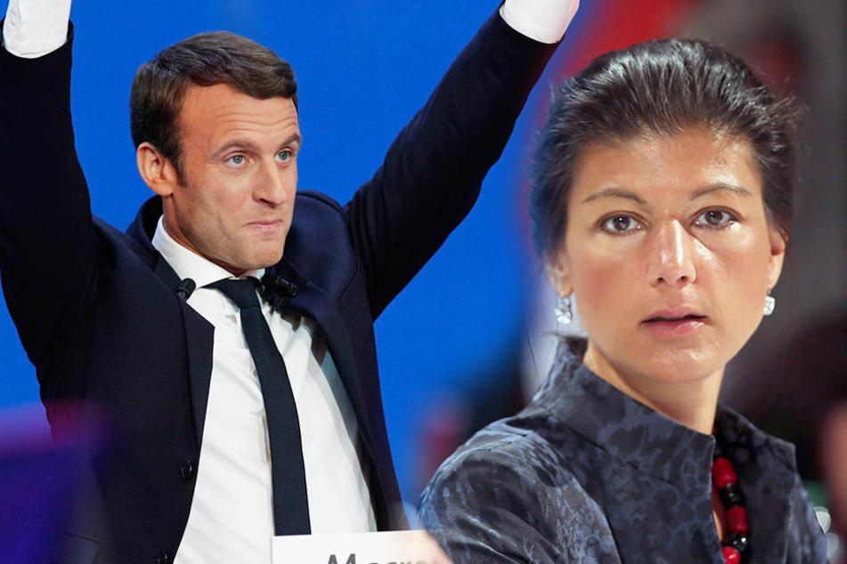Sahra Wagenknecht kann sich über das gute Abschneiden des Linksliberalen Emmanuel Macron in Frankreich nicht freuen.