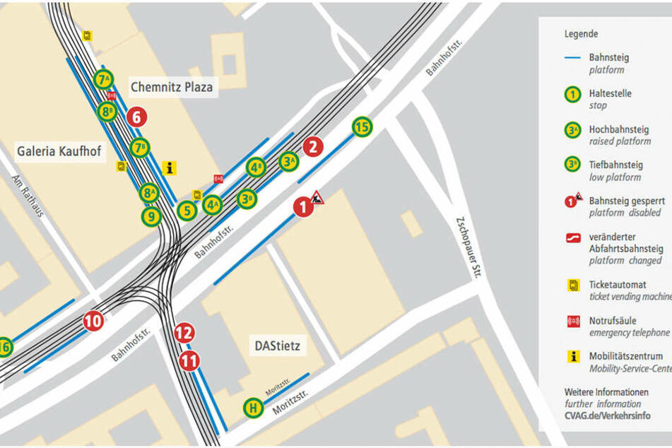 Die rotmarkierten Bahnsteige werden  ab Montag gesperrt.