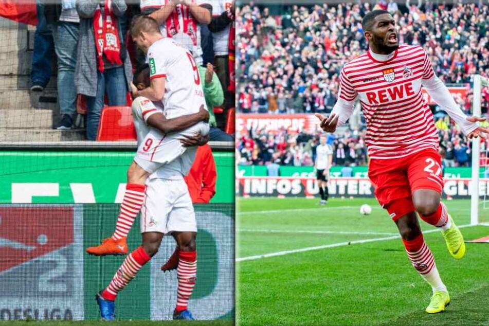 Der Top-Sturm des 1. FC Köln: Jhon Cordoba (l), Simon Terodde (m) und Anthony Modeste.